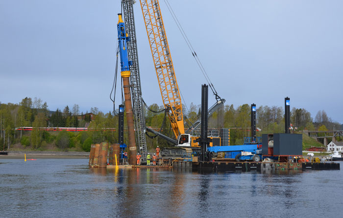 The foundations for Norway's longest railway bridge