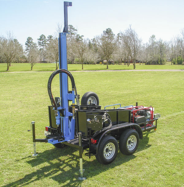 alt='LS300T+ water well drilling rigs can drill as deep as 300ft through hard rock formations when paired with a DTH hammer'