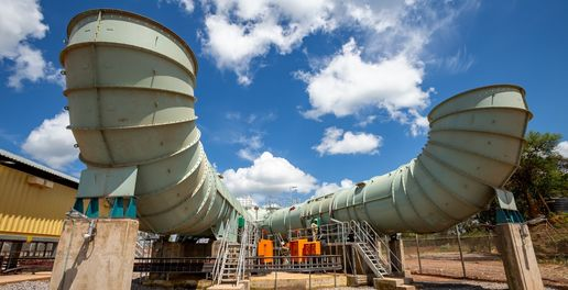 ighvolume ducts deliver fresh air to akulas underground workings through the 55m diameter ent haft 1 allowing for an increase in the number of mine development crews