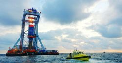 Offshore piling -  striking down on noise