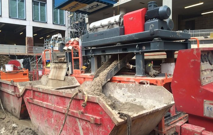 The solids being removed from drilling mud by GeoTech Developments dewatering system