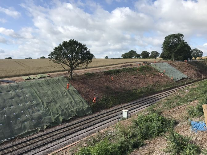 he work undertaken by  on the cutting at the rley unnel included vegetation clearance and the installation of soil nails and rock bolts