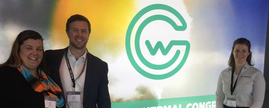 (Left to right): Andy Blair, chairman of WING with Jeremy O'Brien, Seequent's Geothermal business manager and Clare Baxter, Seequent's technical sales advisor energy (UK & Europe)