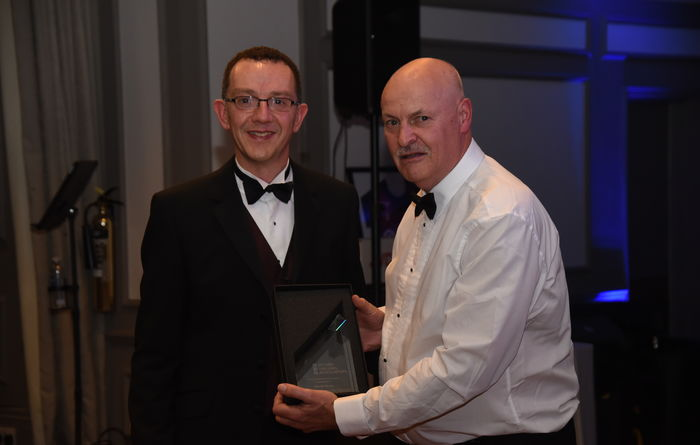David Airey (right) receiving his Lifetime Achievement Award from Martyn Brocklesby, chair of the British Drilling Association